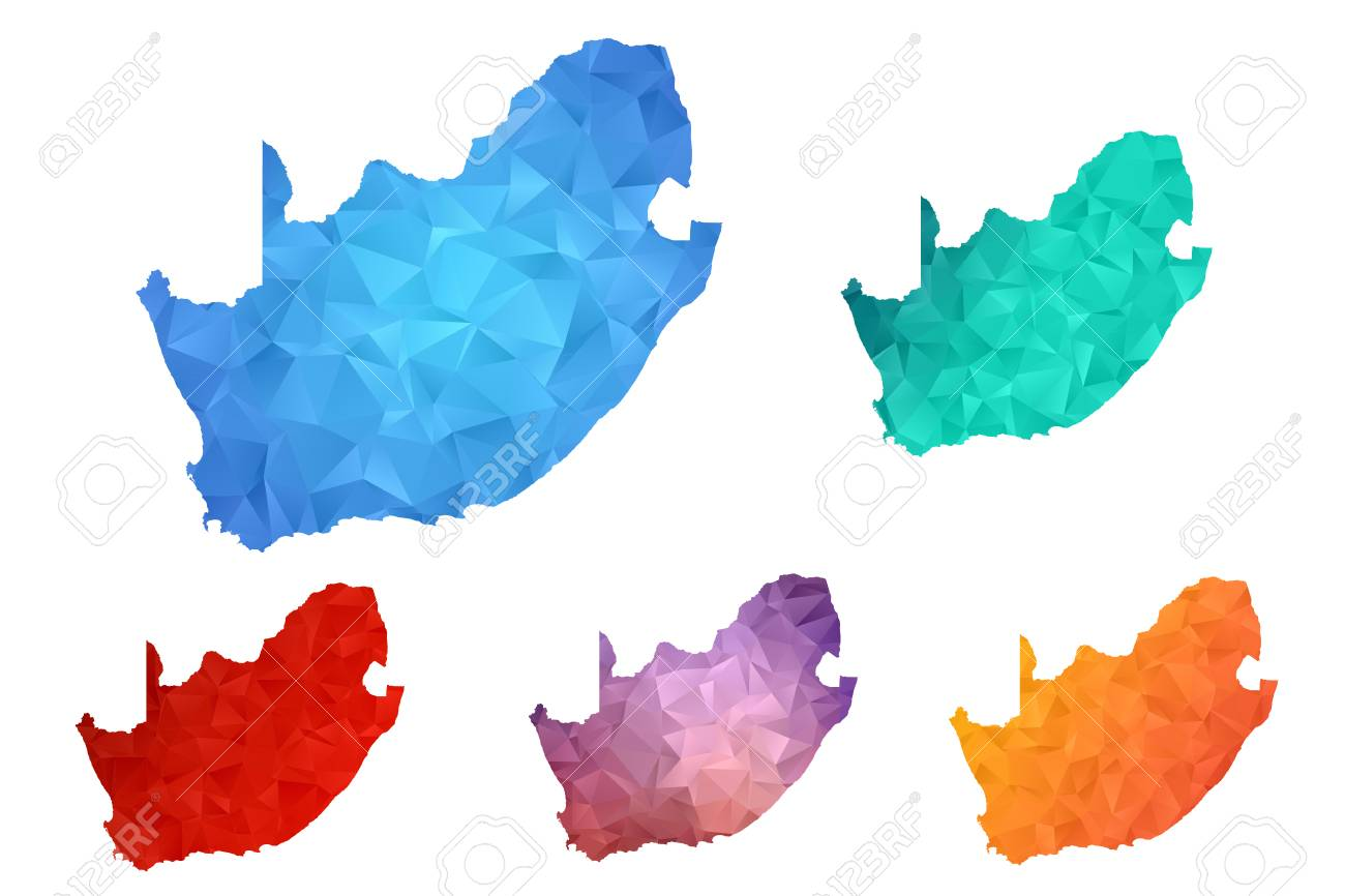 Variety Color Polygon Map On White Background Of Map Of South
