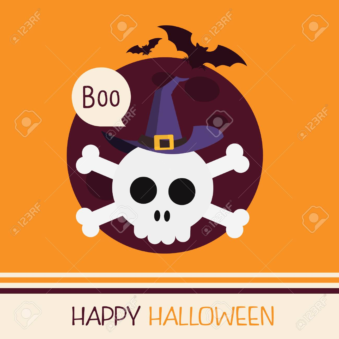 halloween party design template with skull wearing witch hat