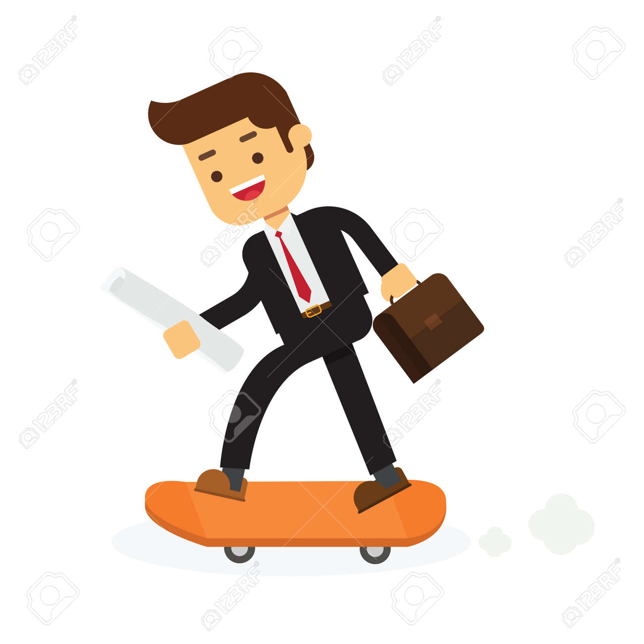 Businessman on skateboard with briefcase - 168316362