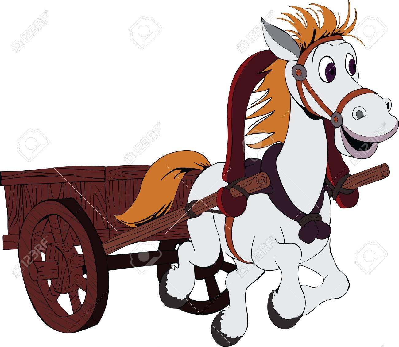 Horse Carriage Cartoon Horse Carriage Illustration