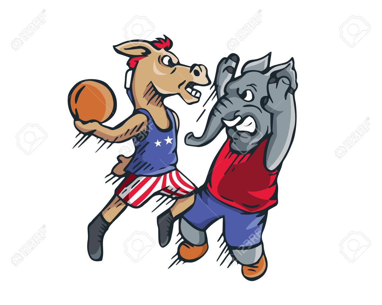 Eeuu Demócrata Republicano Vs Elección 2016 De Dibujos Animados