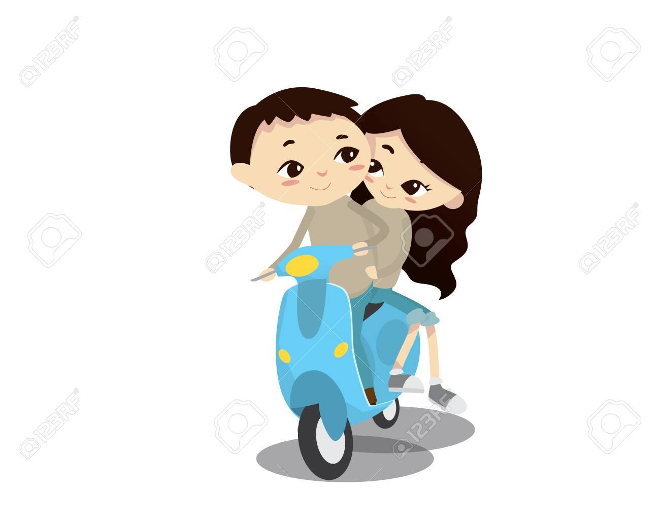 ロマンチックなバレンタインのカップル イラスト - 午後のスクーターに