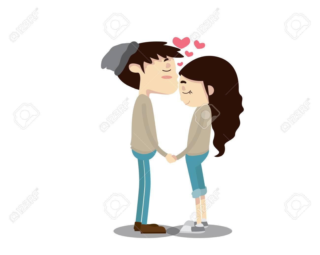 ロマンチックなバレンタインのカップル イラスト - おでこキス