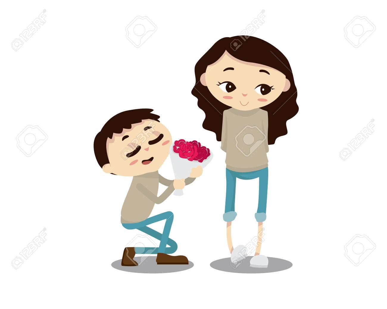 ロマンチックなバレンタインのカップル イラスト - 幸せな記念日親愛なり