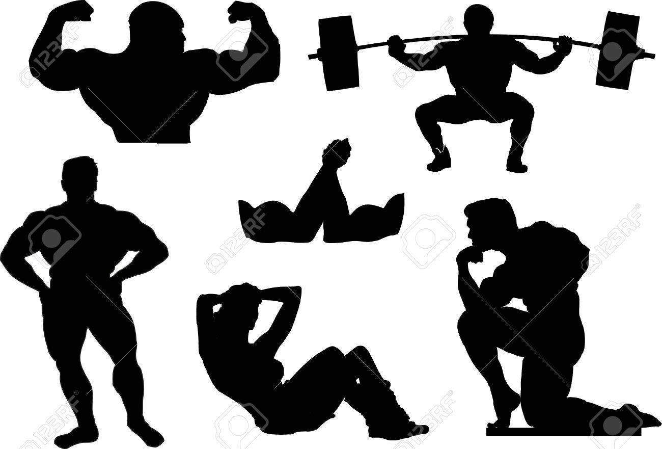 powerlifting weightlifting or bodybuilding silhouettes stock vector 35709040