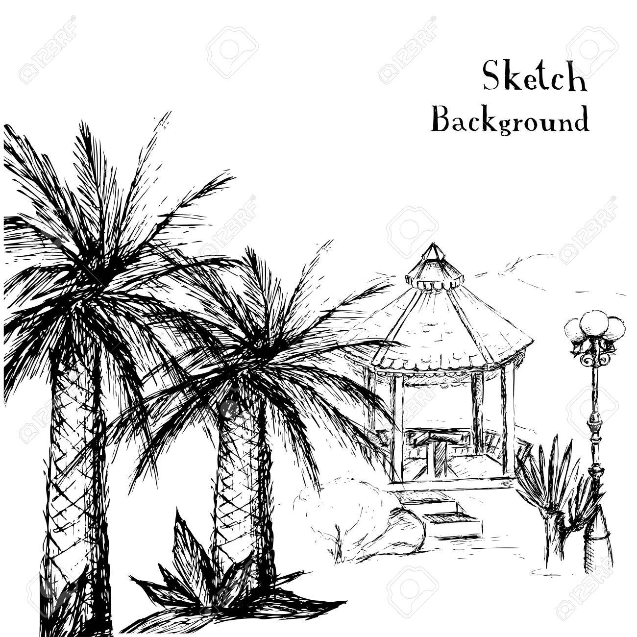 Uncategorized Drawing Palm Trees drawing hands a tropical garden with palm treesbackground vector illustration stock vector