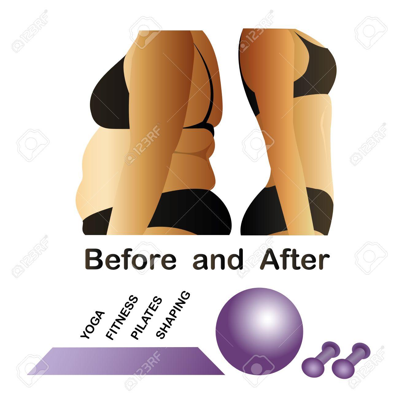 El Cuerpo De La Mujer Antes Y Después De La Aptitud, Yoga. Celulitis ...