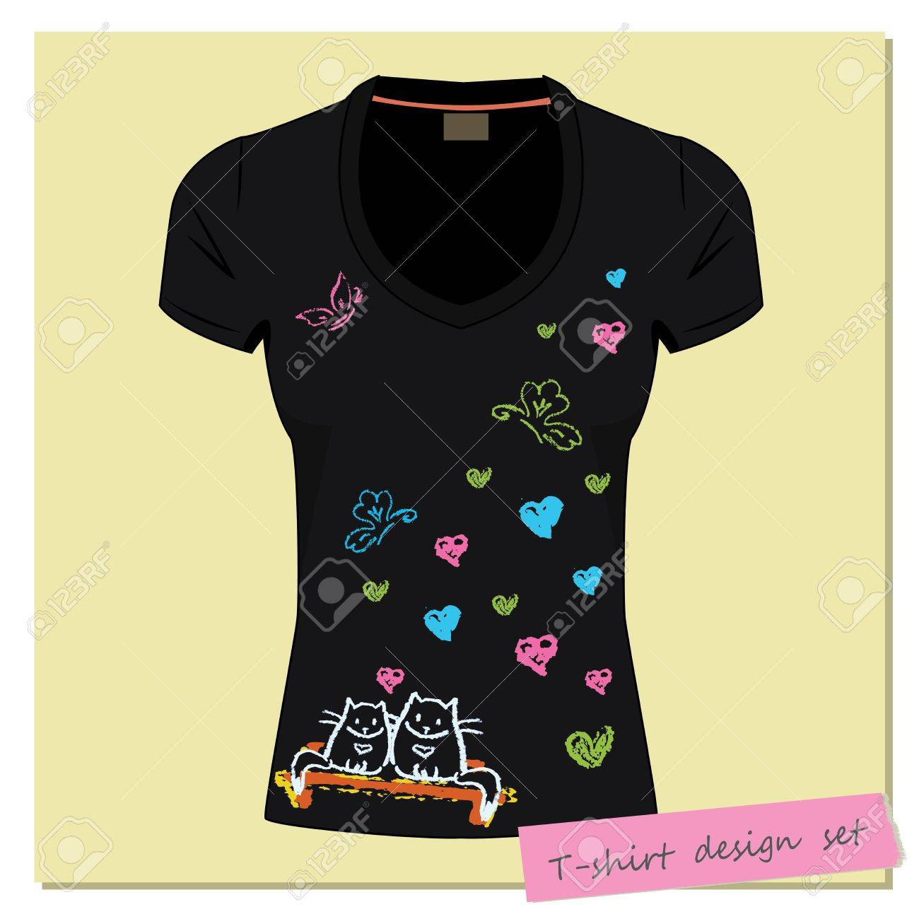 Design t shirt hand made - Black Women S T Shirts With The Label Print Design Different Handmade Pastel Chalk