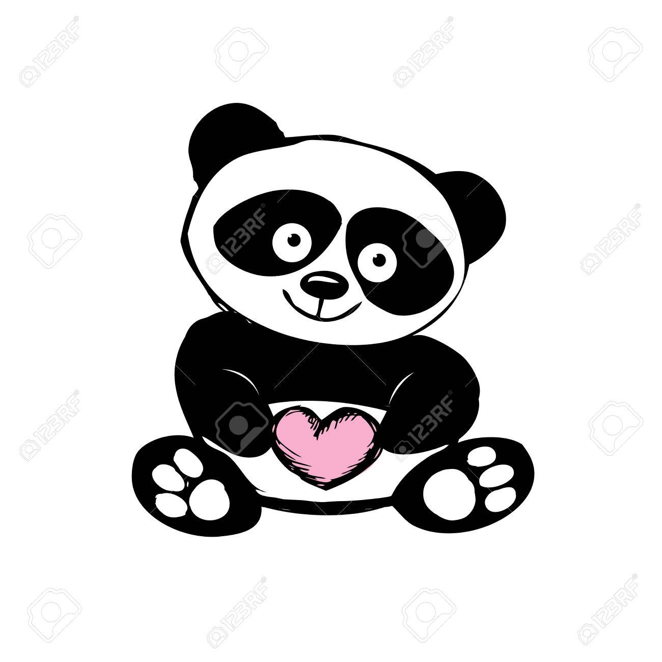 Little Cute Panda Isolated On White Hand Drawing Vector