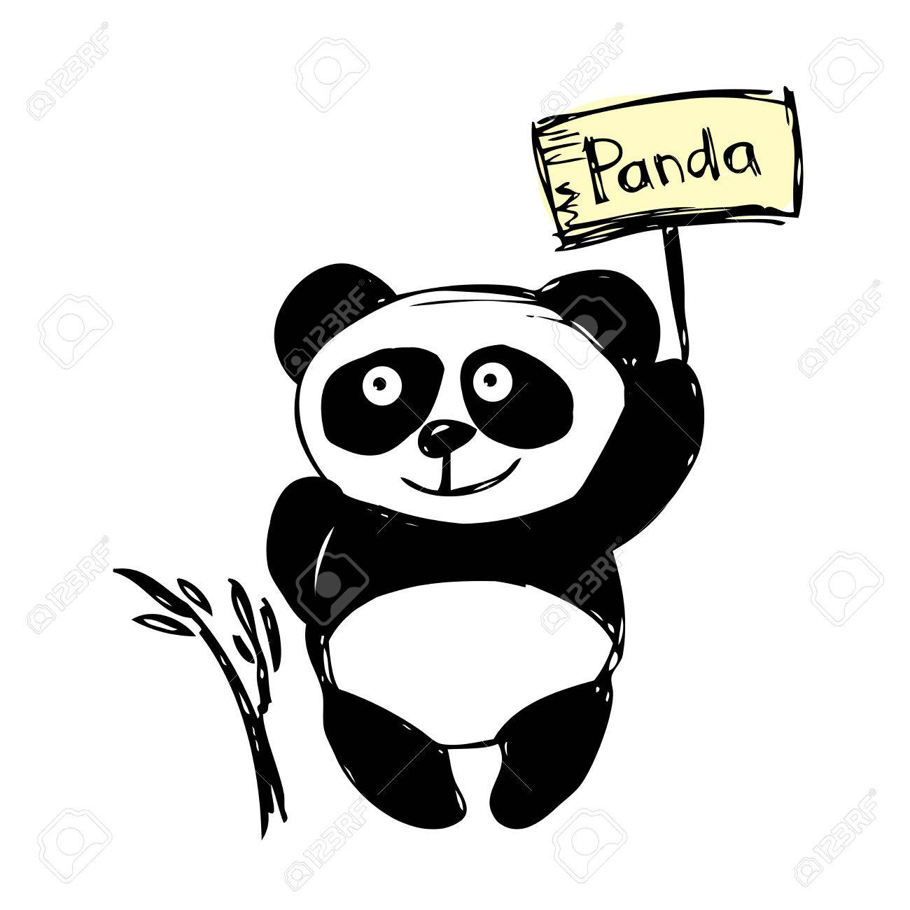 Petit Panda Mignon Isolé Sur Blanc Dessin à La Main Vecteur