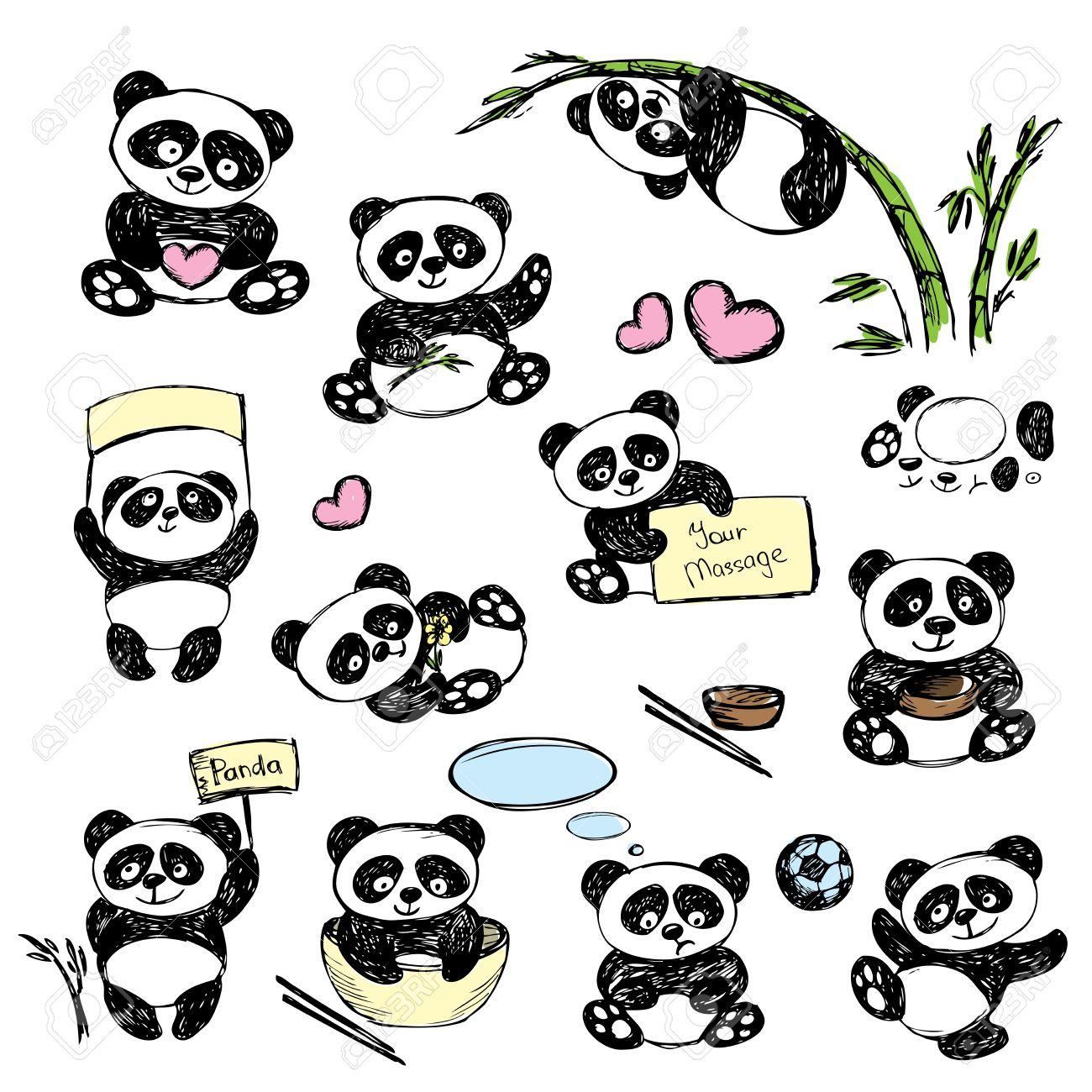 banque dimages rglez cute panda dans diverses poses dessin la main vecteur