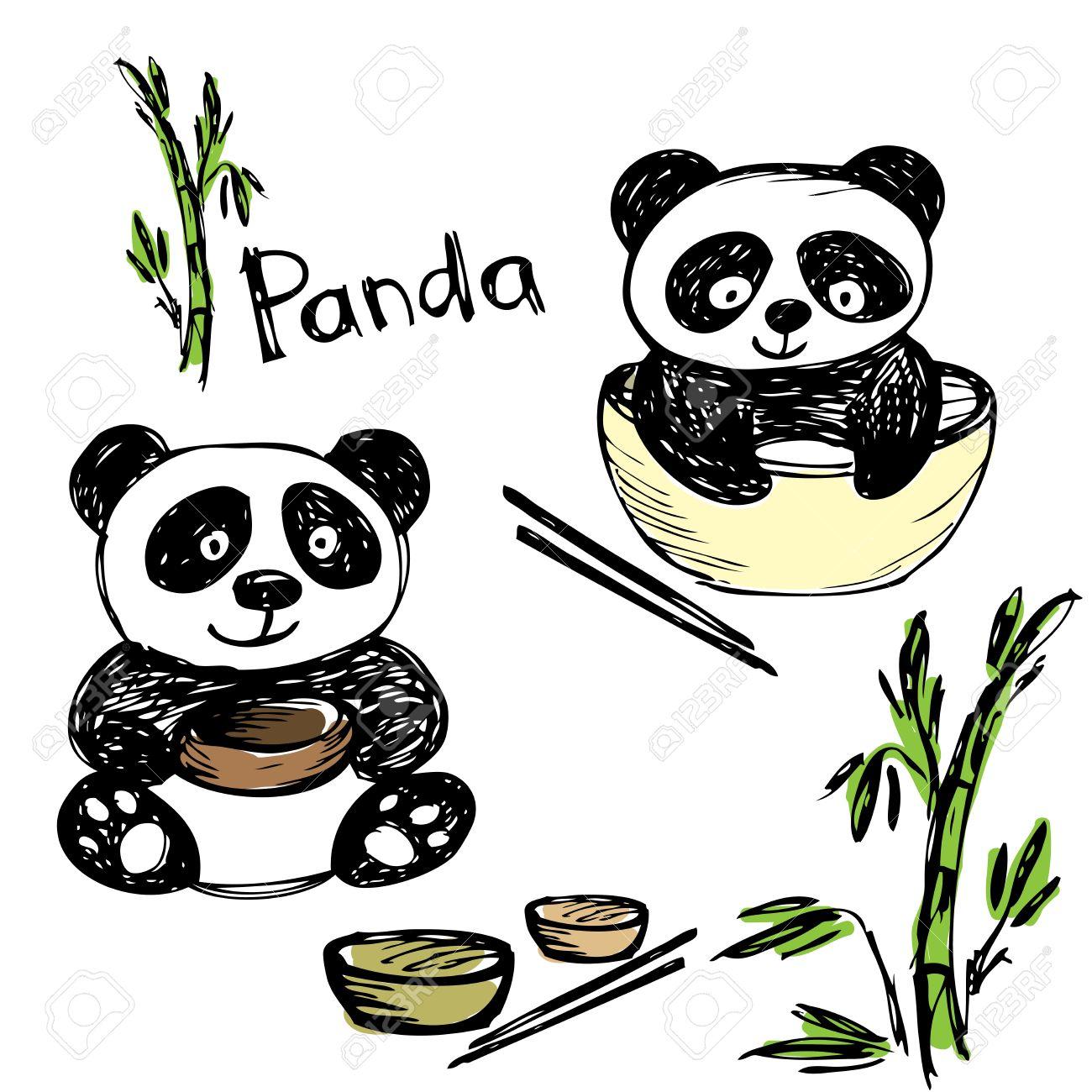 mignon panda manger bambou baguettes dessin la main vecteur banque d