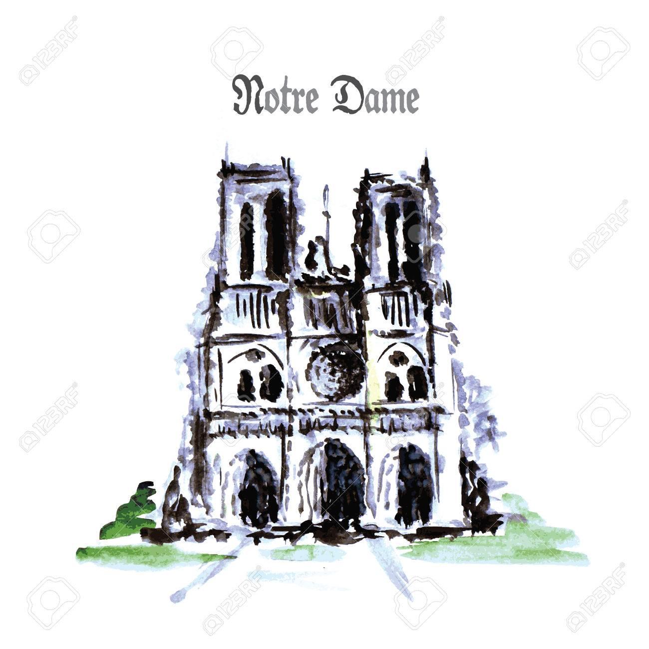 Notre Dame De Paris Disegno.Notre Dame De Paris Cathedral France Watercolor Hand Drawing