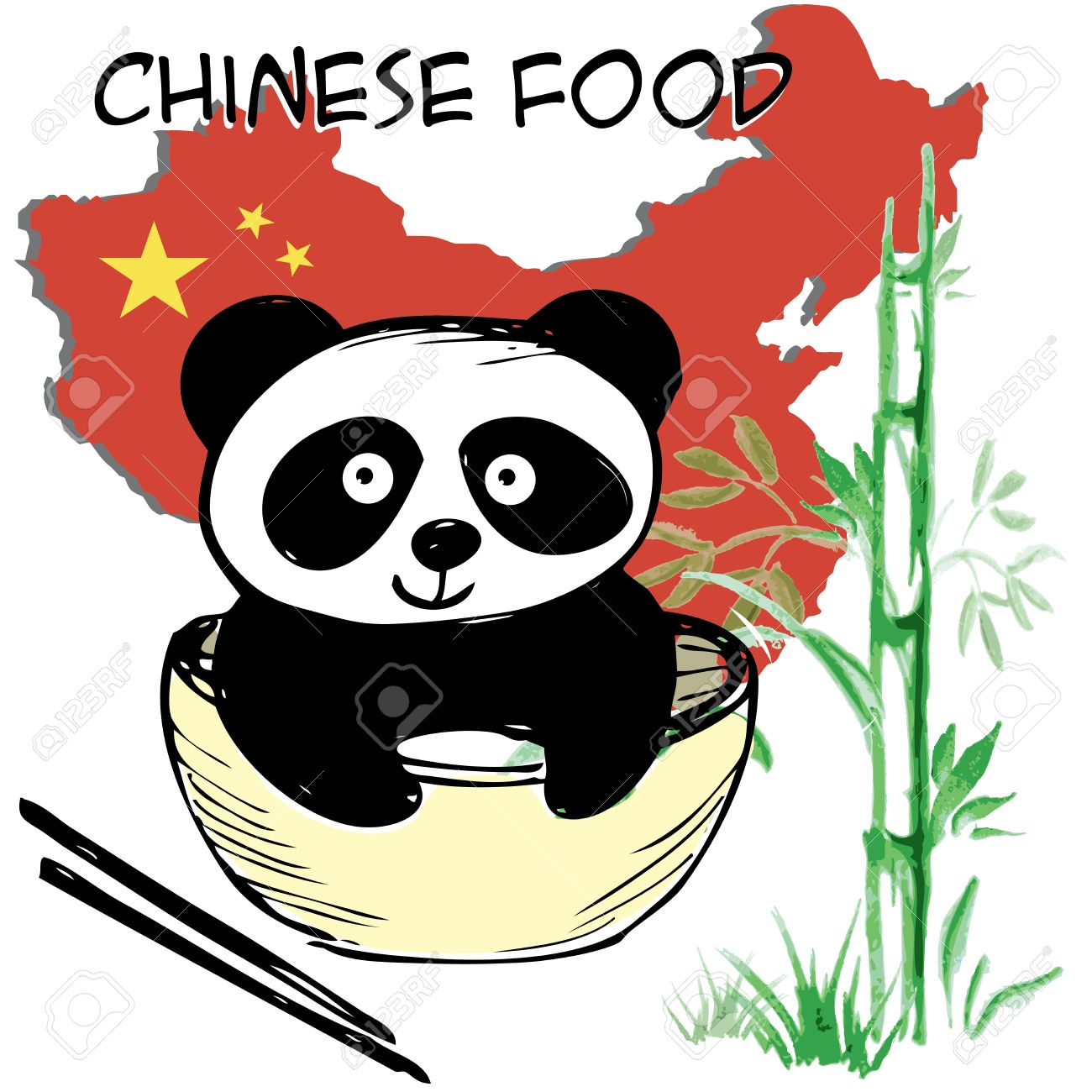 Little Cute Panda Bamboo Chinese Flag And Map Chinese Food
