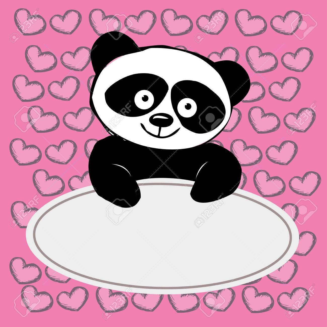 Petit Panda Mignon Avec Des Coeurs Place Pour Le Texte Dessin à La Main Vecteur