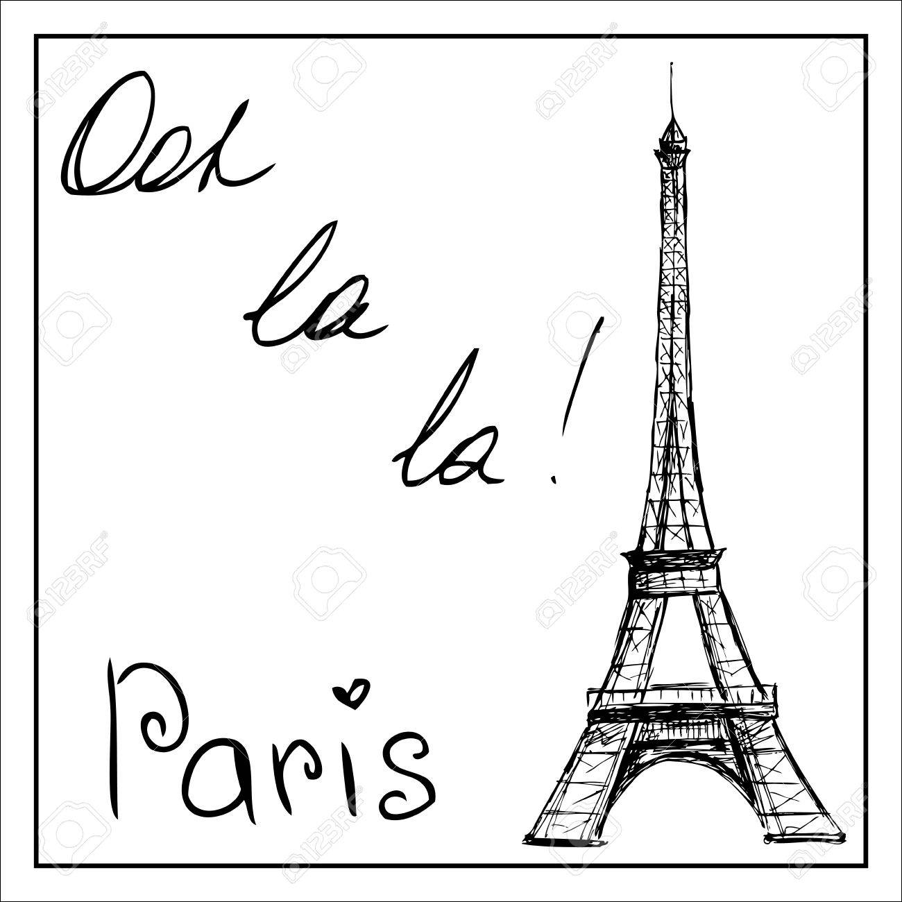 eiffel tower the word paris on a white background hand drawing vector