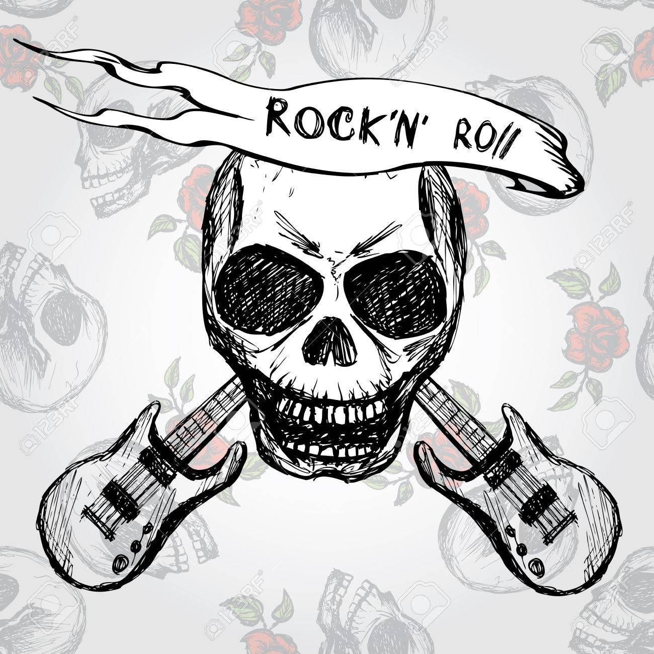 Rock And Roll Crane Guitare Dessin A La Main Vecteur Clip Art