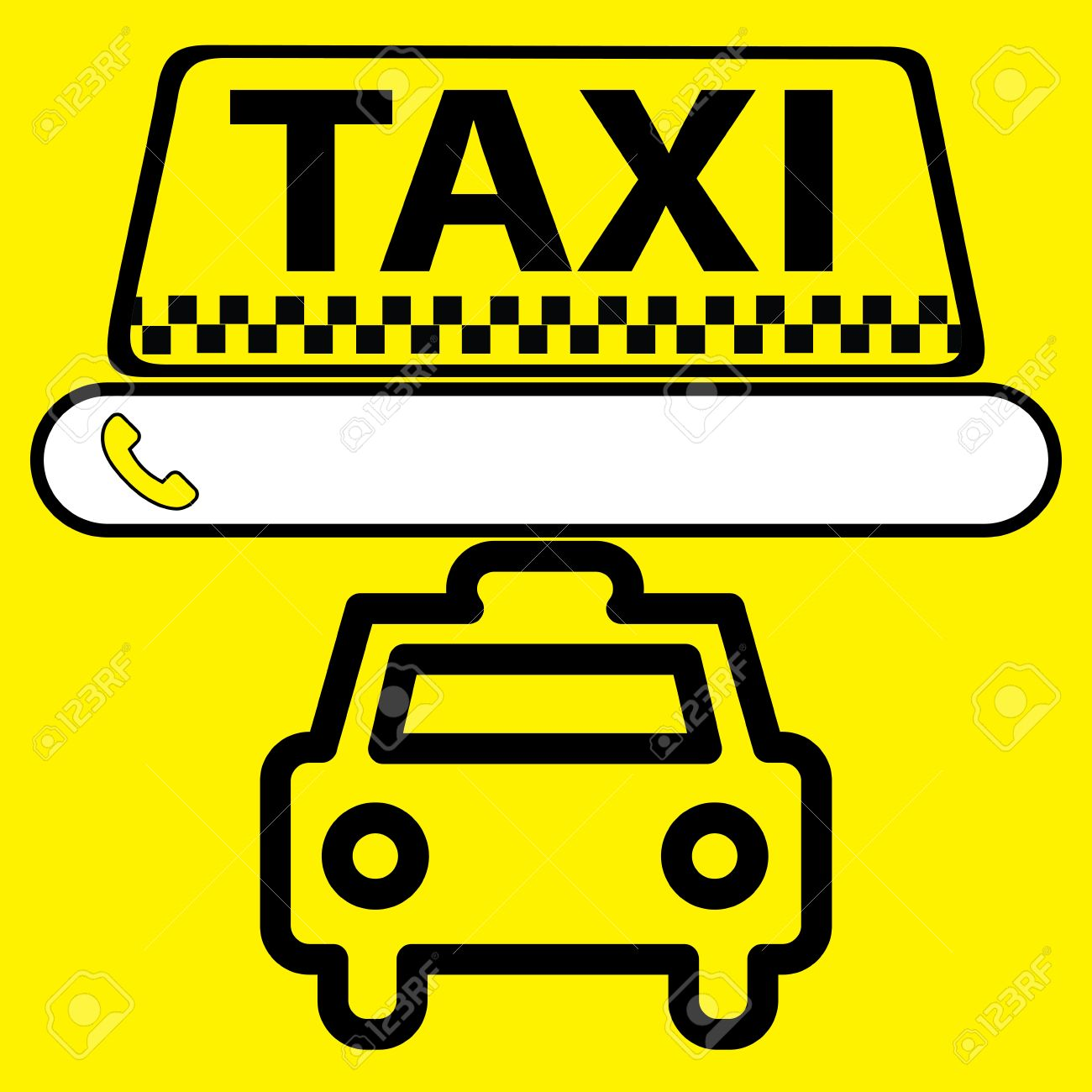 sticker, logo or icon Taxi service with space for a phone number