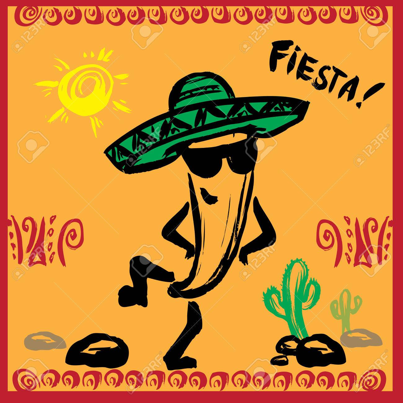 Mexican Fiesta Party Invitation With Dancing Pepper . Hand Drawn ...