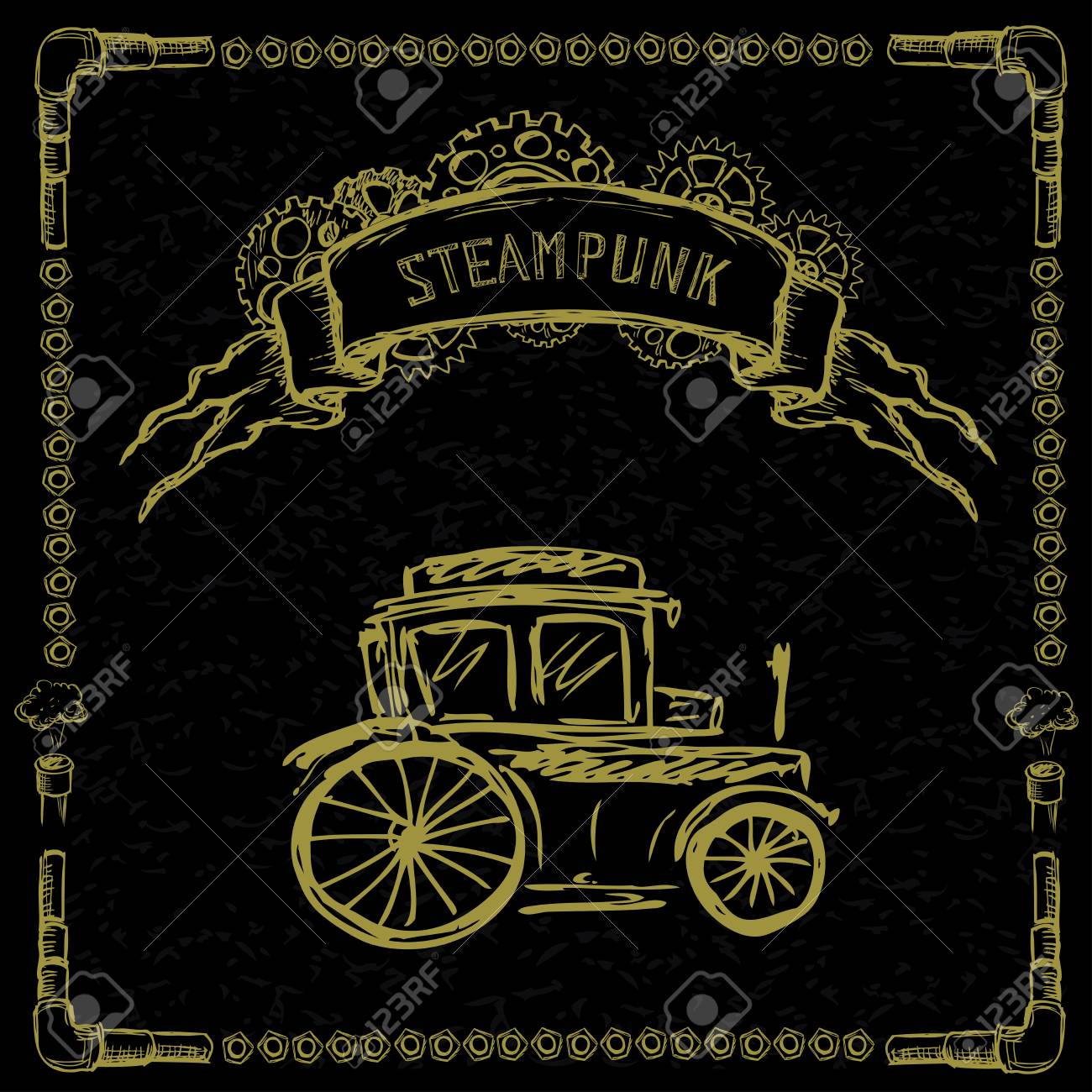 TERMINÉ | Événement premier: La mort pour un roi - Page 3 47419304-steampunk-retro-cars-on-black-hand-drawn-vector-illustration-