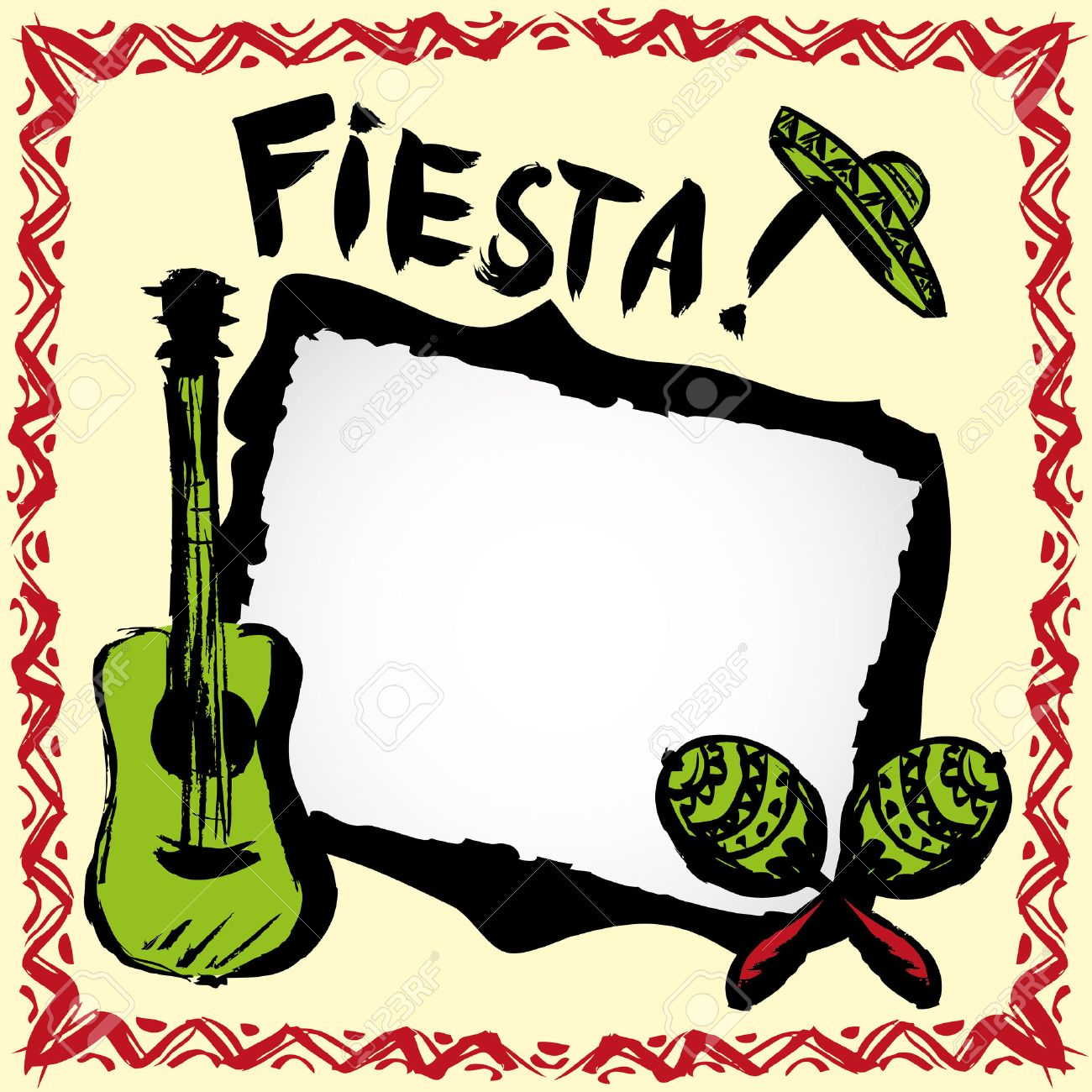 Mexican Fiesta Frame With Sombrero\'s,maracas And Guitar, Hand ...