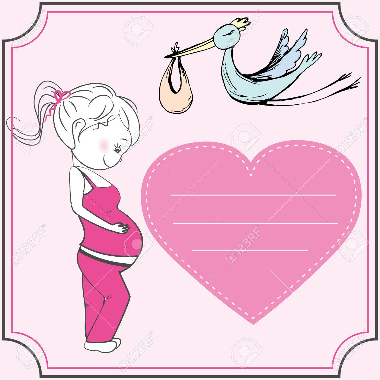 Cartoon Pregnant Woman And Heart Baby Announcement Card Royalty