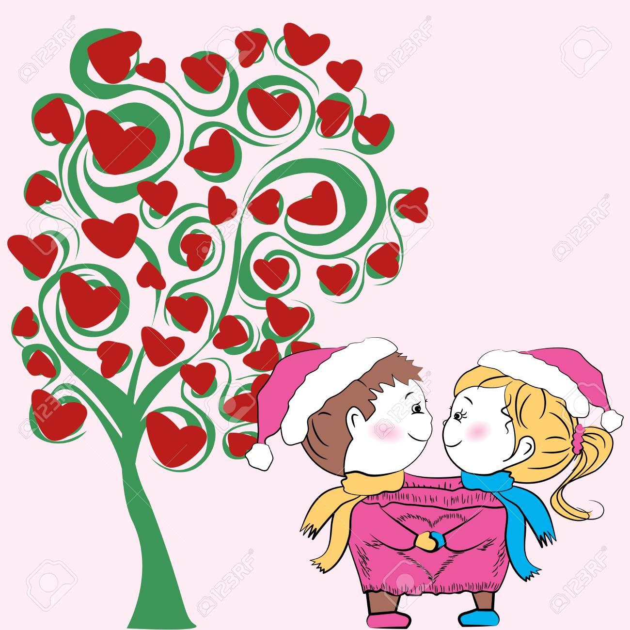 Pareja En El Amor Con Un árbol Del Amor Día De San Valentín Fondo