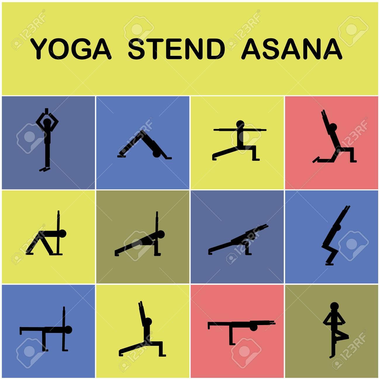 Conjunto de iconos. Plantea elementos asanas.Yoga yoga. ilustración  vectorial Foto de archivo 981ca3789c90