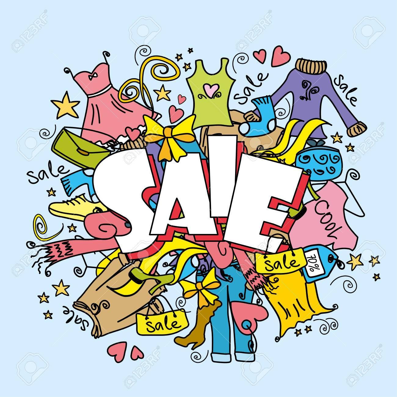 87ca4407a Fondo de compras de la venta de moda, ropa y accesorios, ilustración  vectorial