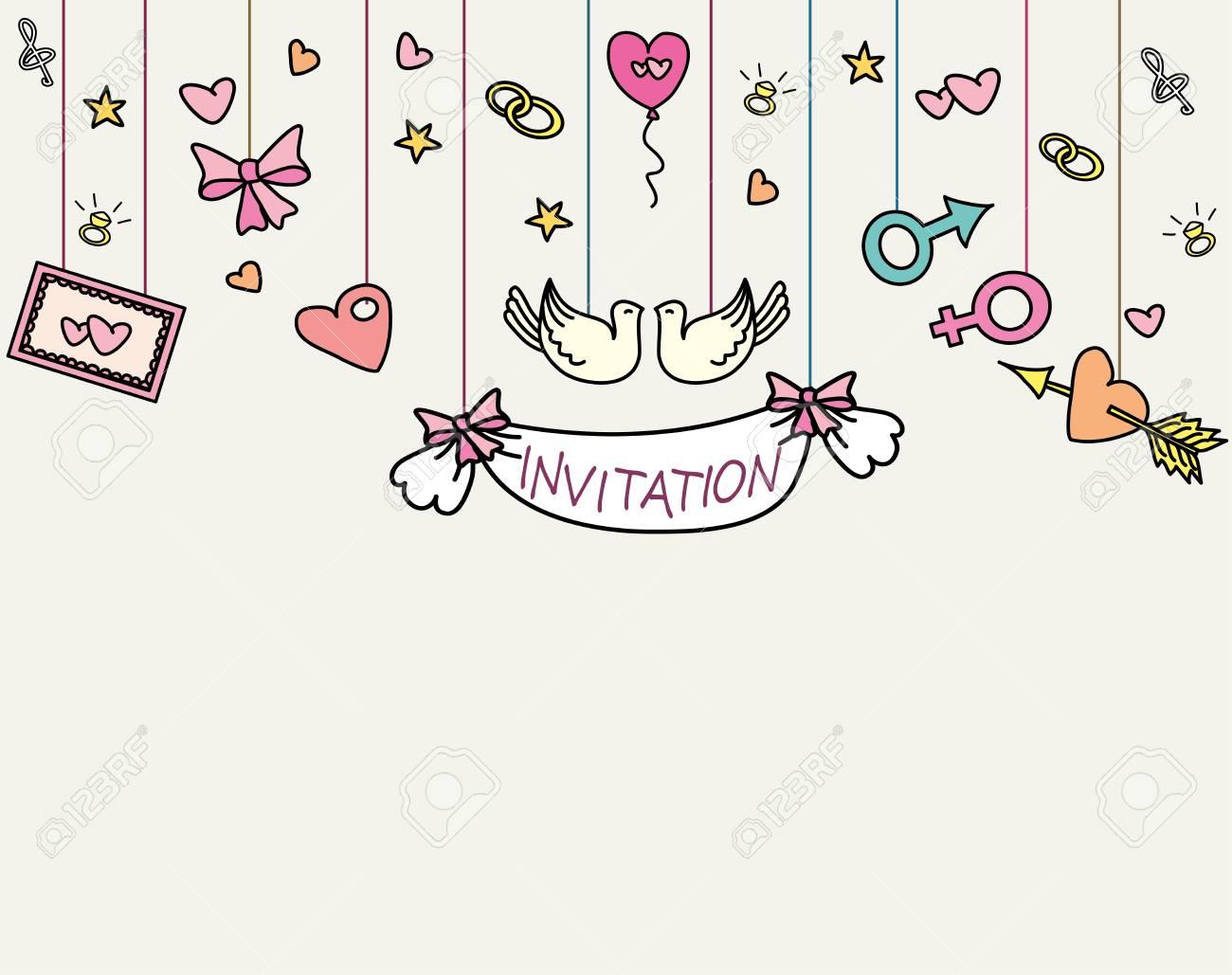 doodle wedding invitation card, hand drawn, vector illustration