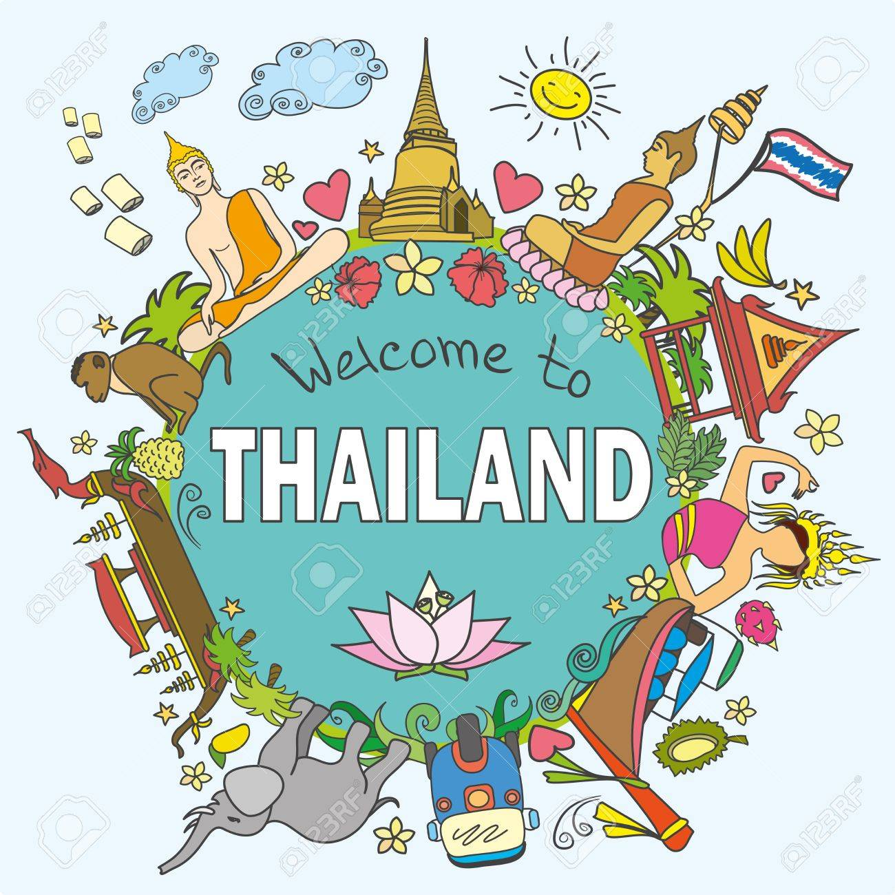 Welcome to Thailand . Set Thai color vector icons and symbols , vector illustration - 56557390