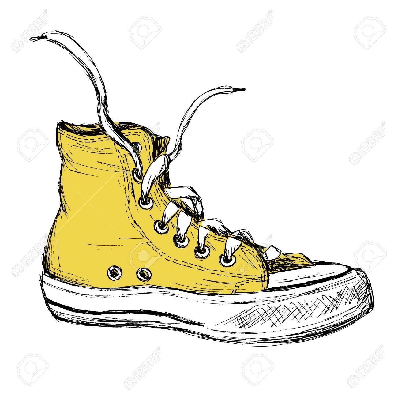 Fondo Sobre Blanco Zapatillas Dibujo Mano Deporte De Aisladas qxpP7