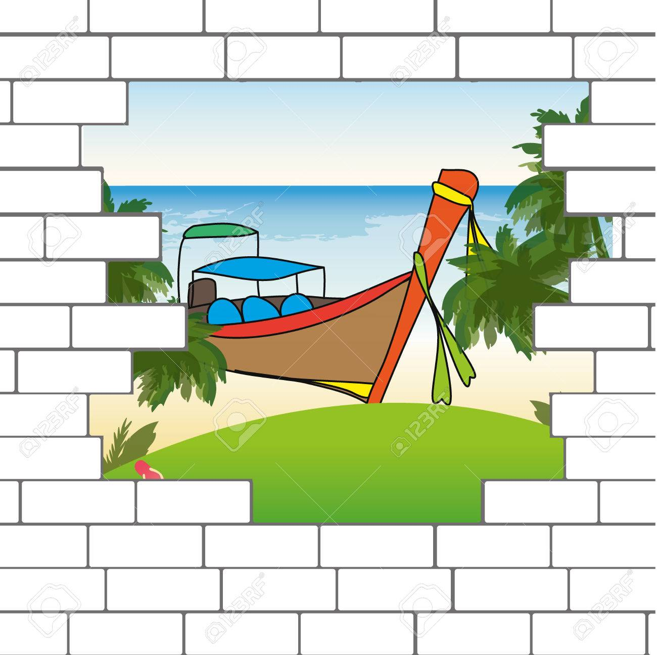 break in the brick wall with a beautiful ocean beach and longtail rh 123rf com Cartoon Brick Holes in Walls Hole in Wall Clip Art