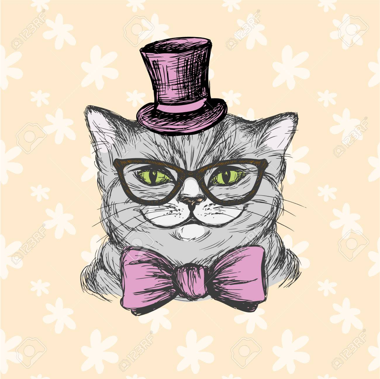 c3b27bf401af Fashion cat in a hat, glasses and a bow tie. Hand drawing vector  illustration