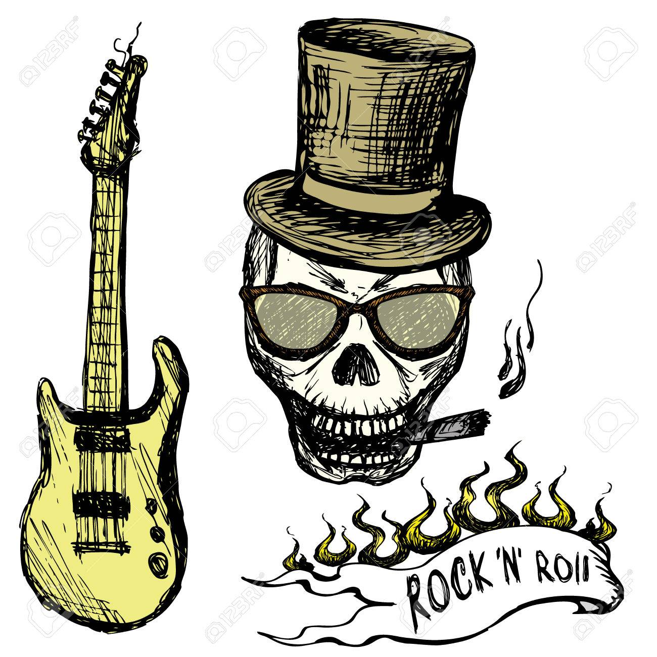 Rock And Roll Skull In Hat And Glasses Guitar Hand Drawing