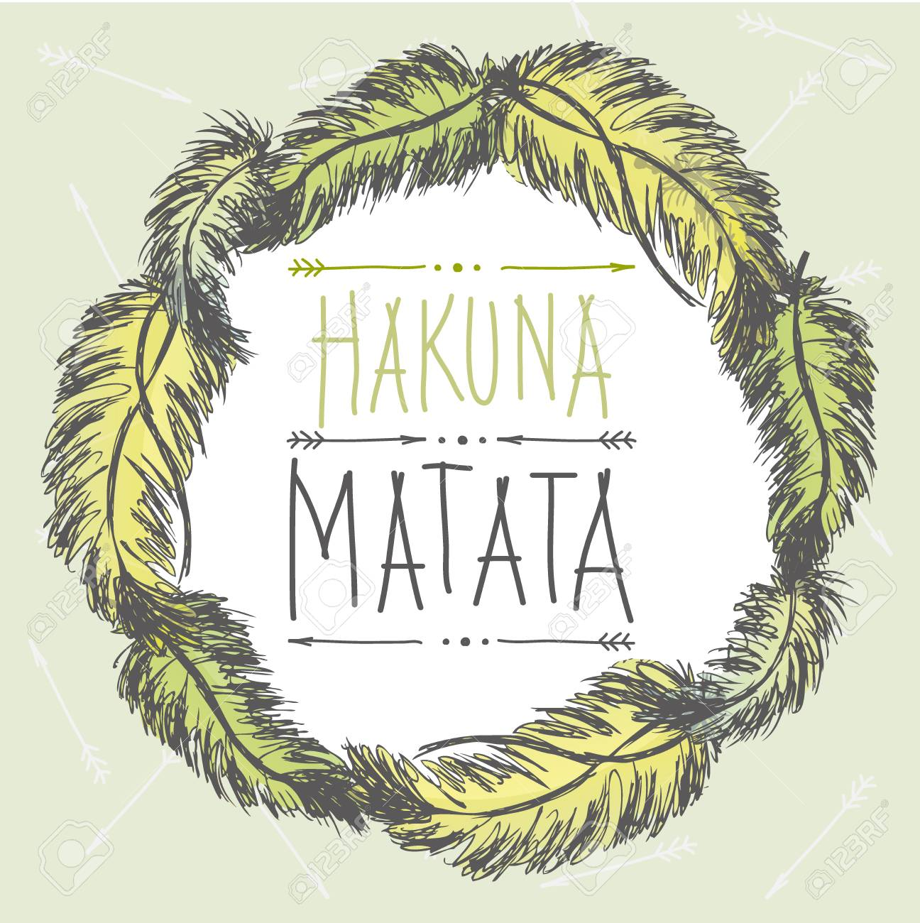 Frame Of Feathers And An Inscription Hakuna Matatano Worriest