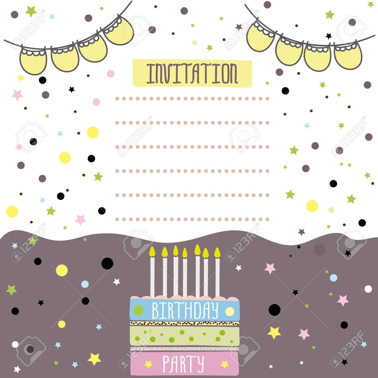 Happy birthday invitation card design vector illustration royalty happy birthday invitation card design vector illustration stock vector 63571364 stopboris Gallery