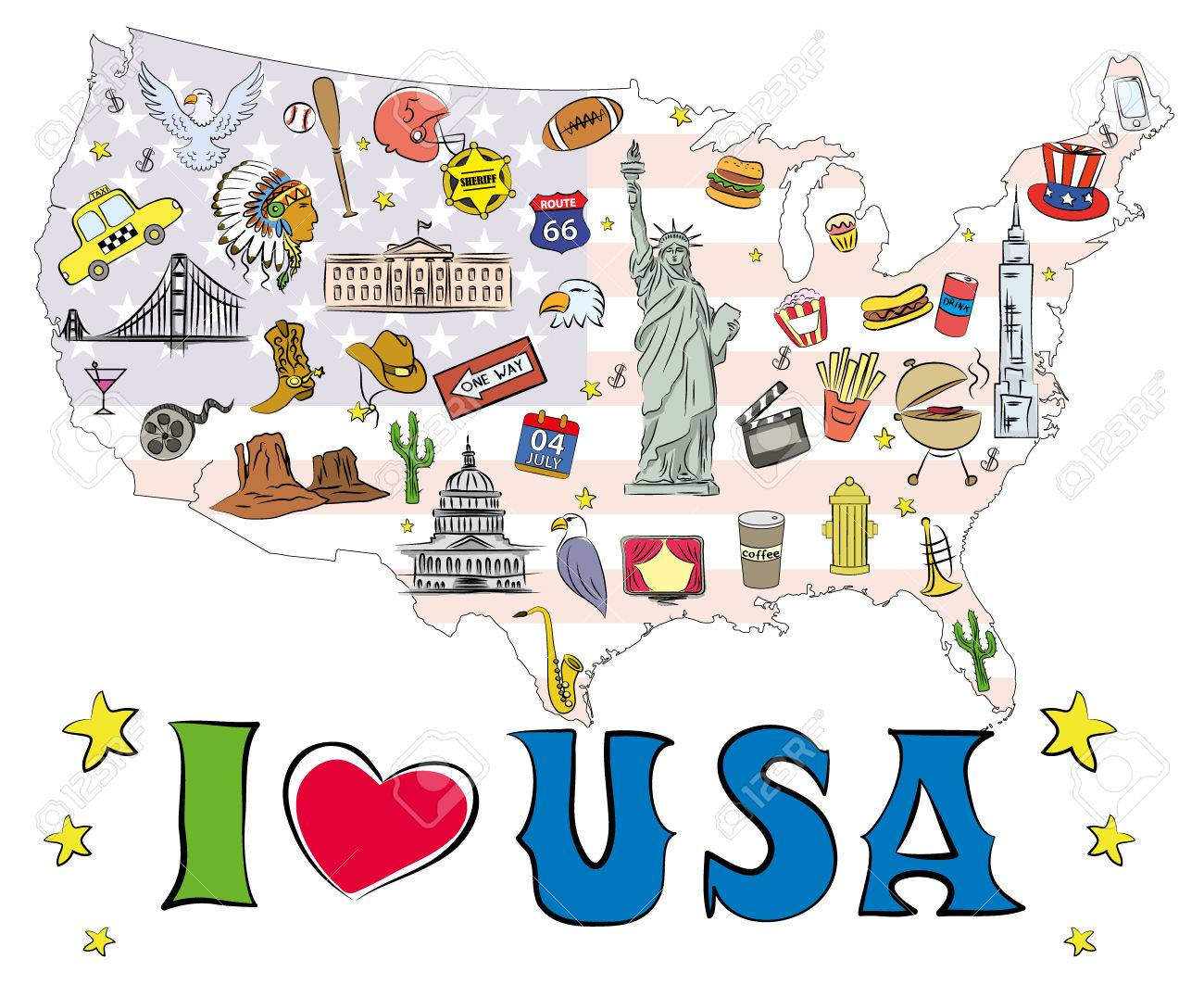 symbols and icons located on us map vector illustration stock vector 63573087