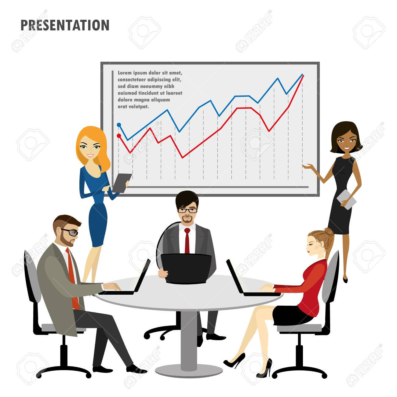 business people group presentation flip chart finance,isolated