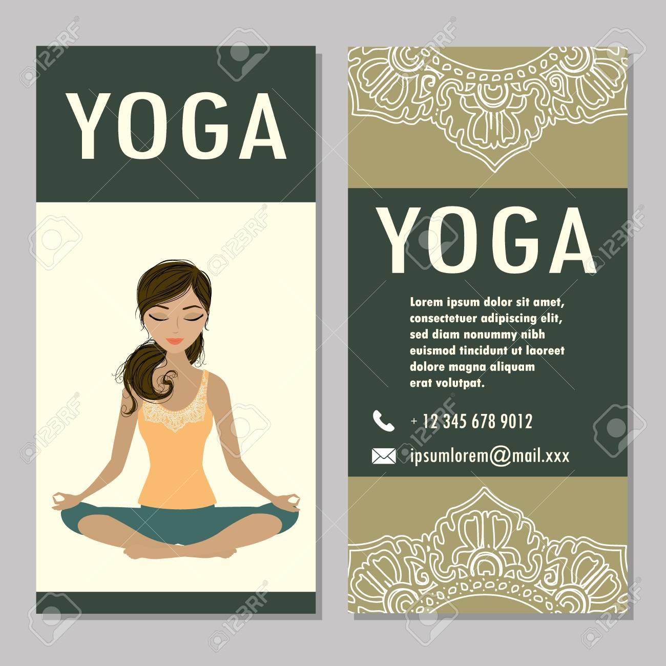 Karten Für Frau Yoga Studio Mit Paisley Ornament, Banner Oder ...