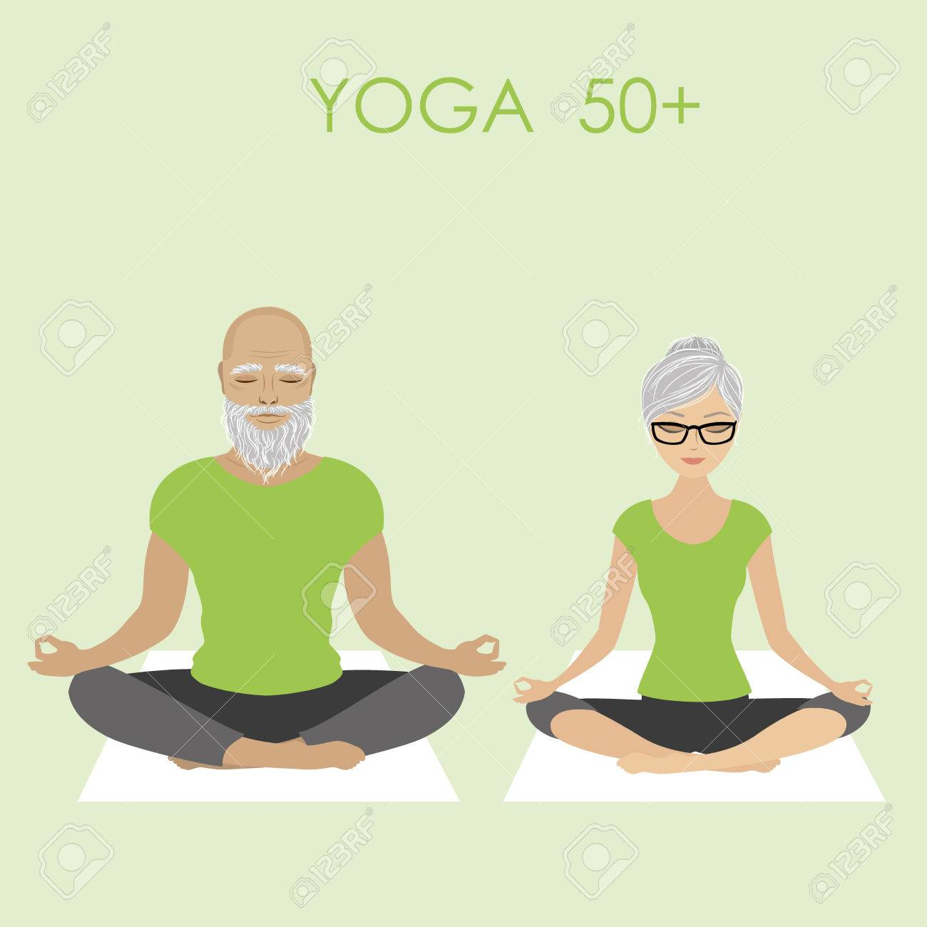 Senior Citizen Couple Relaxing In Yoga Pose Stock Vector Illustration Royalty Free Cliparts Vectors And Stock Illustration Image 69008562