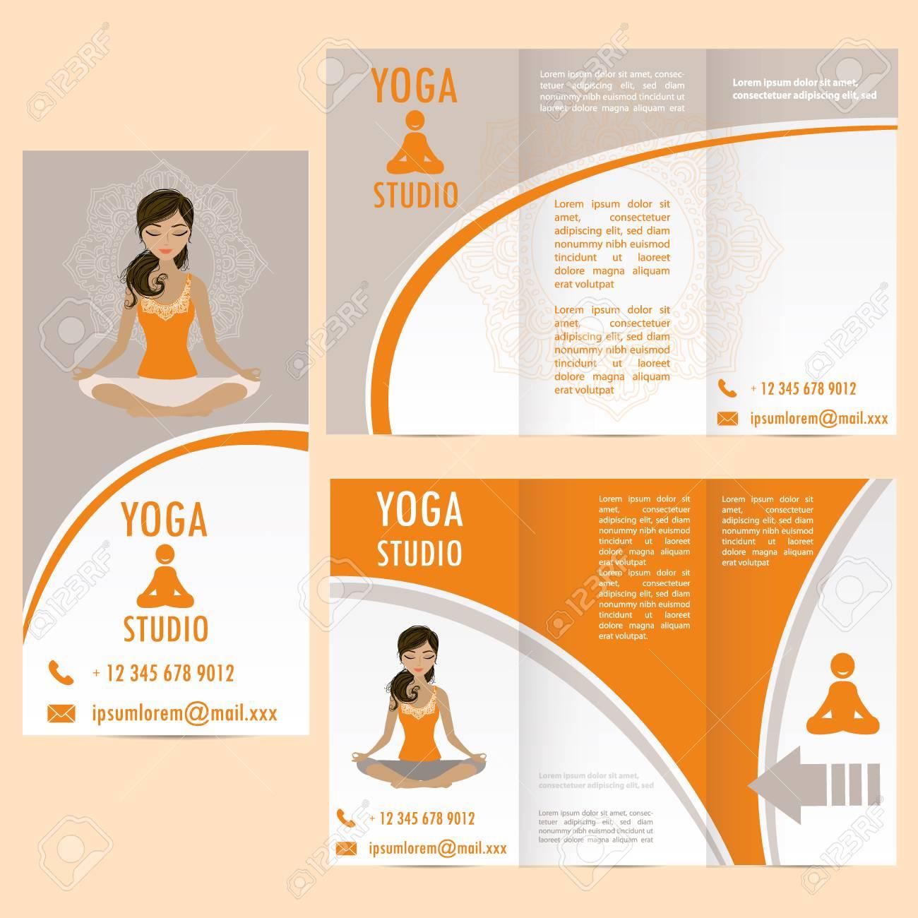 Karten Für Frau Yoga-Studio Mit Paisley-Ornament Und Mädchen In ...