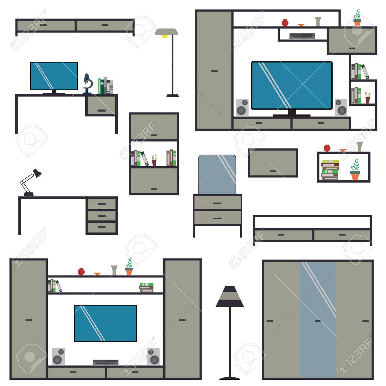 Conjunto De Dibujos Animados Muebles Para El Hogar, Ilustración ...