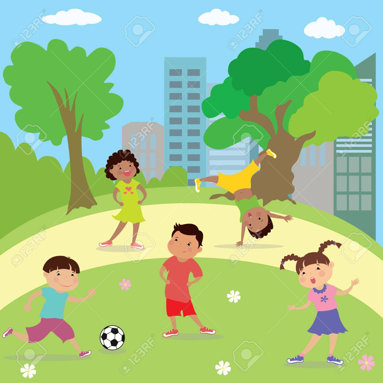 children playing in park,boys and girls different races,cartoon