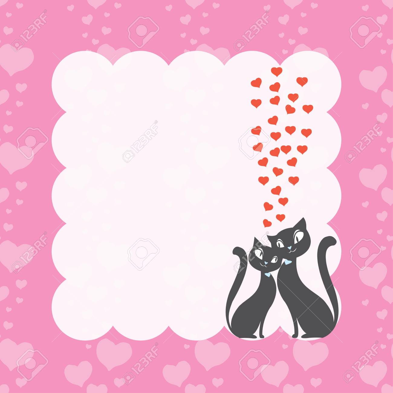 Couple Love Cats And Frame With Hearts Seamless Pattern , Love ...