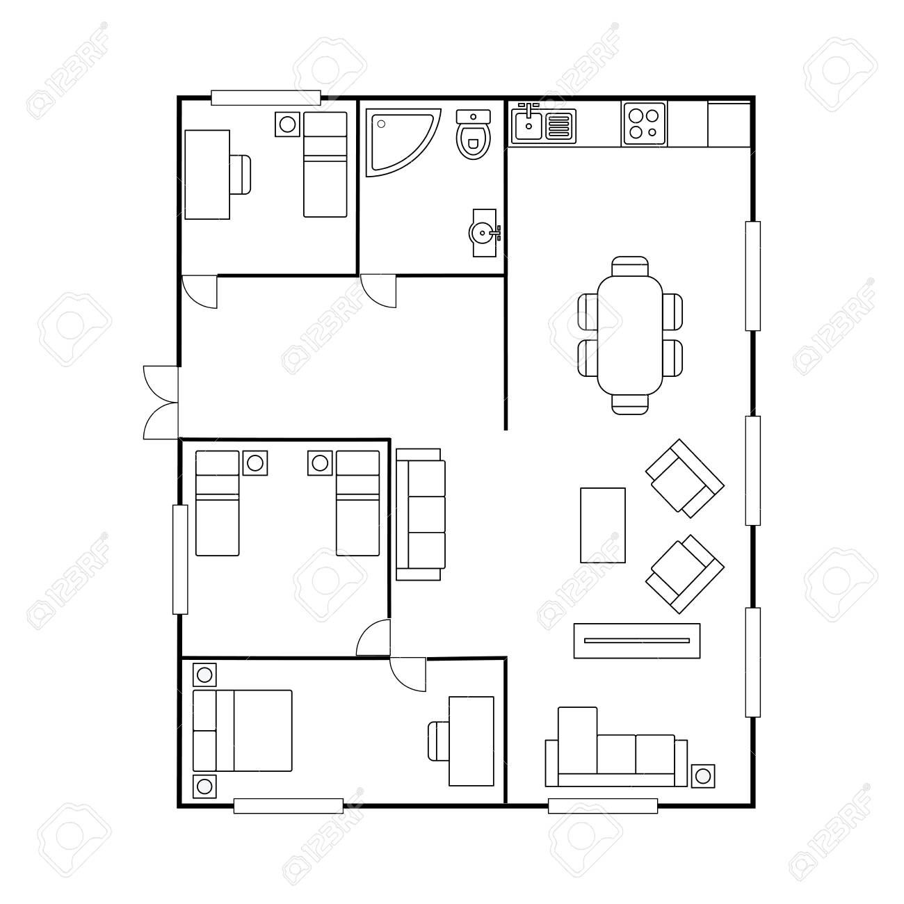 Architecture Plan With Furniture. House Floor Plan, Isolated ...