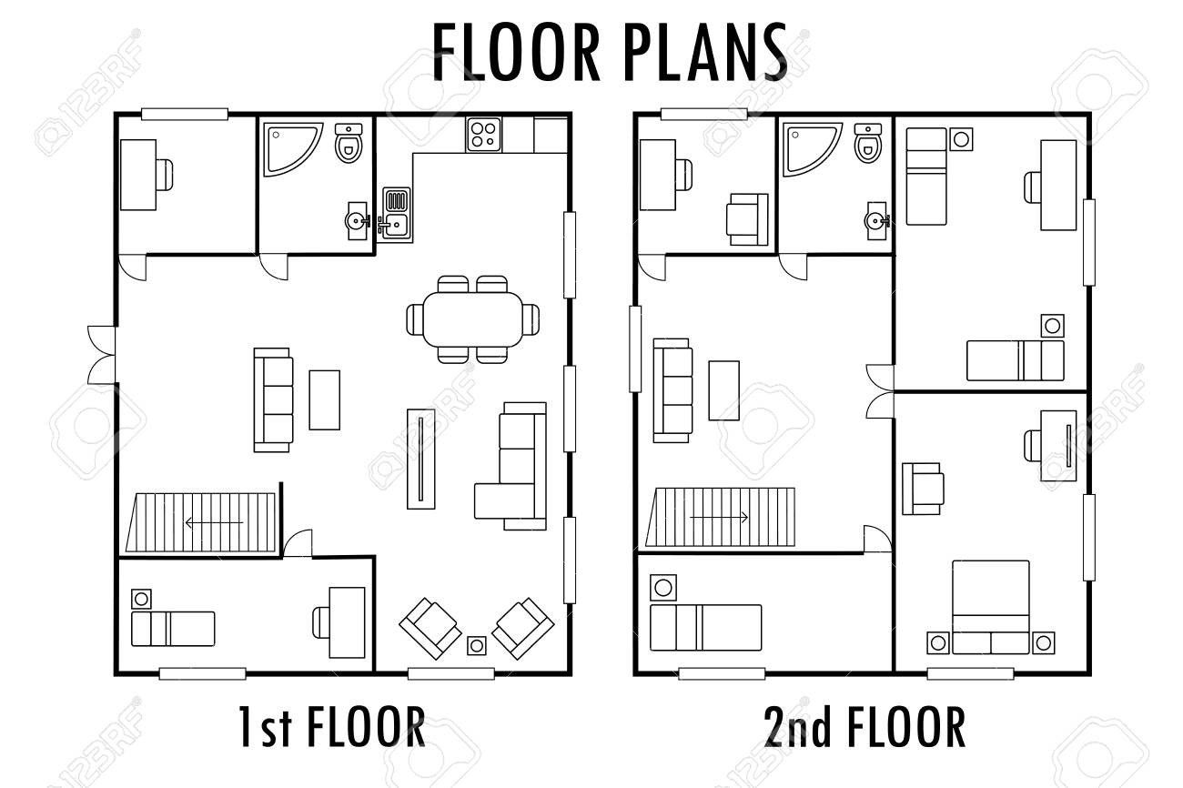 architecture plan with furniture house first and second floor