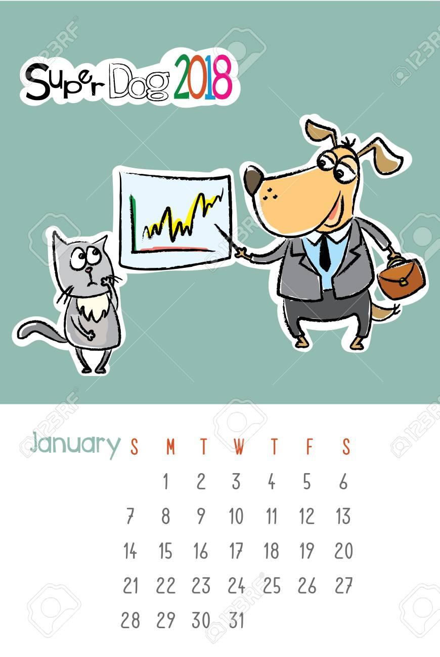 かわいい犬と悲しい猫カレンダー 2018年 1 月手描きテンプレート
