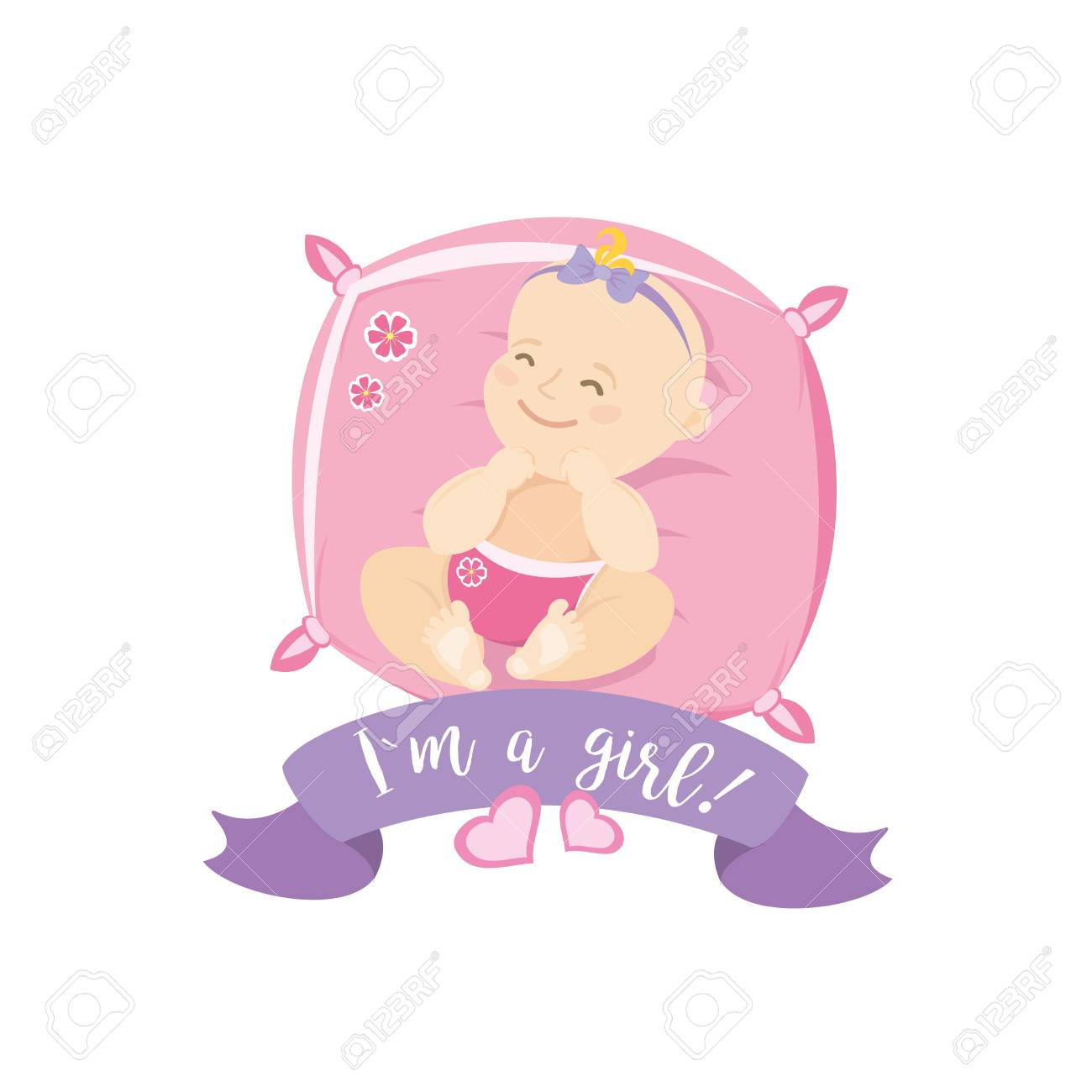 Newborn Baby Girl Cartoon Card Vector Illustration Royalty Free Cliparts Vectors And Stock Illustration Image 92823915