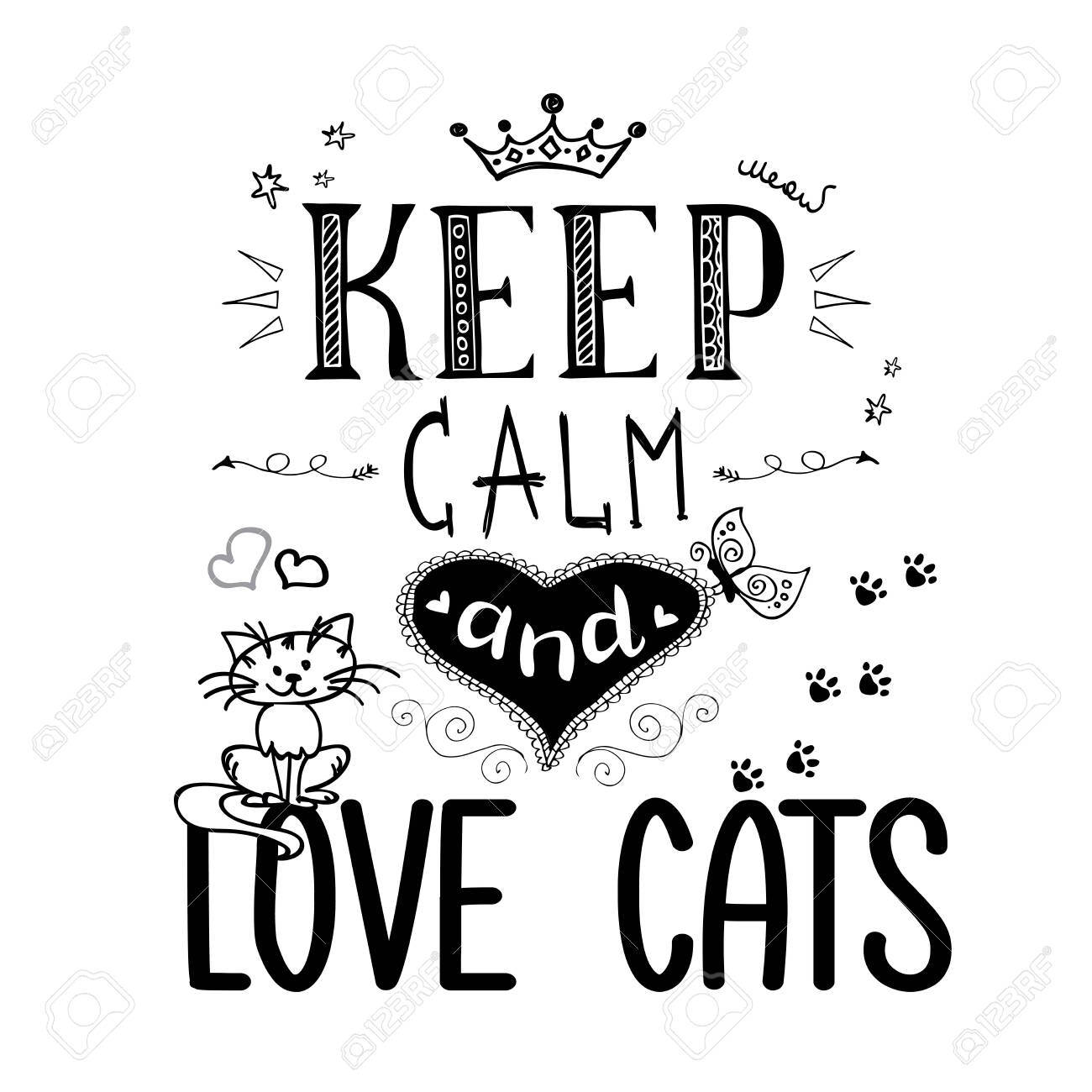 Funny pets and lettering- keep calm and love cats - 135078653